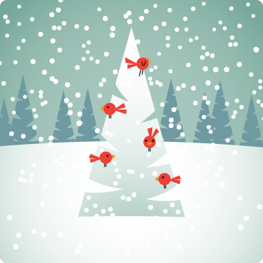 Red Birds on Christmas Tree - Illustration